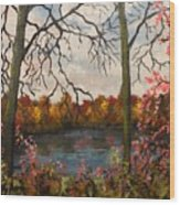 Autumn Lake View Wood Print