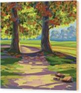 Autumn Landscape Wood Print