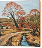 Autumn Landscape Wood Print