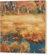Autumn Landscape With Fox Wood Print