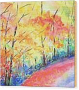 Autumn Lane Iv Wood Print