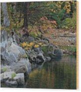 Autumn Leaves And Merced River, Mariposa County, California Wood Print