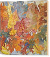 autumn Leaves Collage III Wood Print