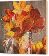 Autumn Leaves Still Life Wood Print by Amanda Elwell
