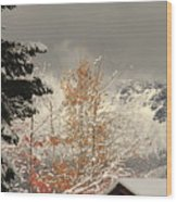 Autumn Leaves Winter Snow Wood Print