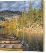 Autumn Light At The Lake Wood Print