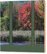 Autumn Marsh Through A Window Wood Print