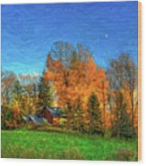 Autumn Moon Rising Wood Print