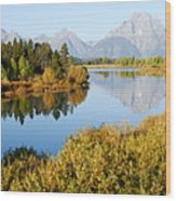 Autumn Morning At Oxbow Bend Wood Print
