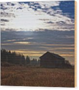 Autumn Morning On The Fields Wood Print