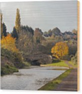 Autumn On The Canal Wood Print