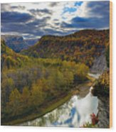 Autumn On The Genesee Wood Print