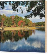 Autumn On The Lake  Wood Print