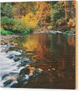 Autumn On The Merced River Yosemite Np Wood Print