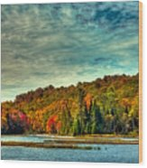 Autumn On The Moose River In Thendara Wood Print