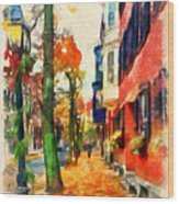 Autumn On The Streets Of Boston Wood Print