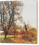 Autumn On White Wood Print