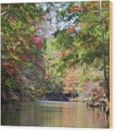 Autumn Over Golden Waters Wood Print