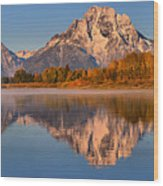 Autumn Oxbow Bend Reflections Wood Print