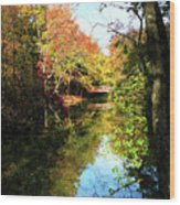 Autumn Park With Bridge Wood Print