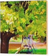 Autumn Playground Wood Print