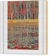 Autumn Pond And Lily Pads Poster Wood Print