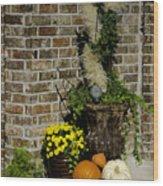 Autumn Porch Scene Wood Print