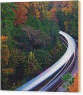Autumn Rails Wood Print