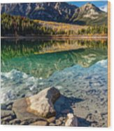 Autumn Reflection Of Pyramid Mountain Wood Print