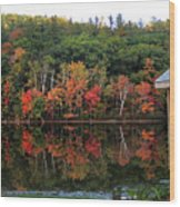 Autumn Reflections And Cabin On Baker Pond Wood Print