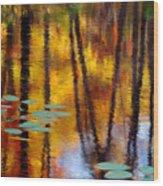 Autumn Reflections II Wood Print