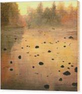 Autumn River Fog Wood Print