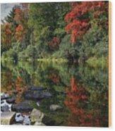 Autumn River Landscape Wood Print