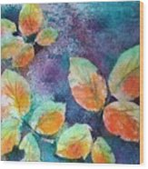 Autumn Rose Leaves Wood Print
