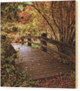 Autumn Splendor Bridge Wood Print
