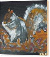 Autumn Squirrel Wood Print