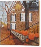 Autumn Stone House Wood Print