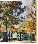 Autumn Street With Yellow House Wood Print