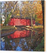 Autumn Sunrise Bridge II Wood Print