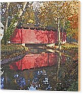 Autumn Sunrise Bridge Wood Print