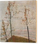 Autumn Trees Wood Print by Egon Schiele