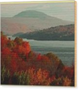 Autumn Trees Near A River H A With Decorative Ornate Printed Frame. Wood Print