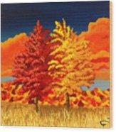 Autumn Twins Wood Print