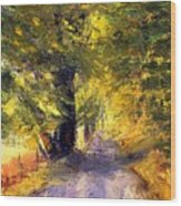 Autumn Walk Wood Print
