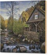 Autumn Water Wheel Wood Print