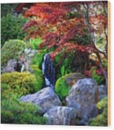 Autumn Waterfall Wood Print by Carol Groenen