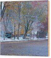 Autumn Winter Street Light Color Wood Print