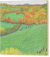 Autumn With Purple Angus Wood Print