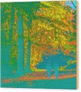 Autumn Woodland Walk Turquoise Wood Print