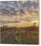 Autumn's Sunset Wood Print